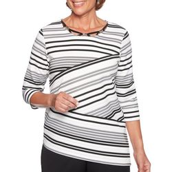 Alfred Dunner Plus Asymmetrical Striped Top