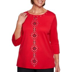 Alfred Dunner Plus Well Red Jeweled Detail Top