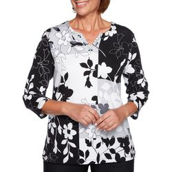 Alfred Dunner Plus Grand Boulevard Floral Patchwork Top