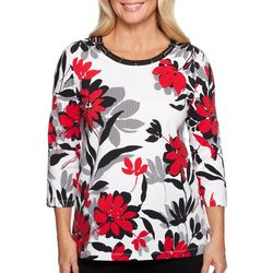 Alfred Dunner Plus Grand Boulevard Floral Knit Top