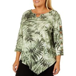 Alfred Dunner Plus Lake Tahoe Palm Leaf Print Top
