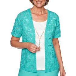 Alfred Dunner Plus Coastal Drive Textured Lace Duet