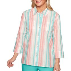 Alfred Dunner Plus Coastal Drive Vertical Stripe Top