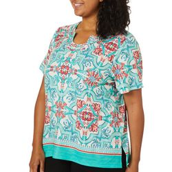 Alfred Dunner Plus Costal Drive Medallion Print Top