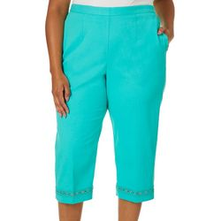 Alfred Dunner Plus Costal Drive Crochet Hem Crop Pants