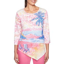 Alfred Dunner Plus Palm Coast Tropical Scene Top