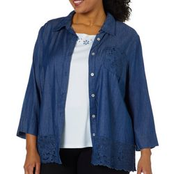 Alfred Dunner Plus Greenwich Hills Chambray Top