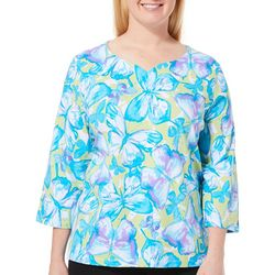 Alfred Dunner Plus Butterfly Effect Embellished Top