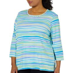 Alfred Dunner Plus Butterfly Effect Striped Top