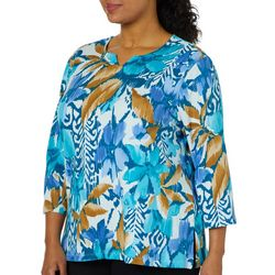 Alfred Dunner Plus Classics Tropical Floral Print Top