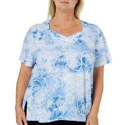 Alfred Dunner Plus Turtle Cove Embellished Swirl Top