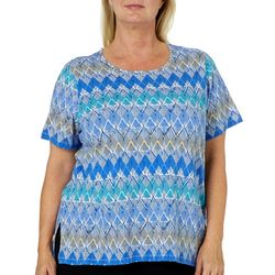 Alfred Dunner Plus Turtle Cove Geometric Print Top