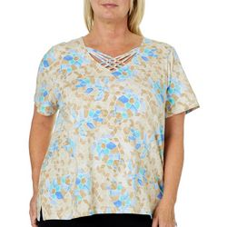 Alfred Dunner Plus Turtle Cove Mosaic Crisscross Top