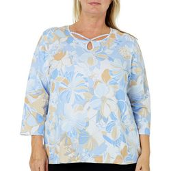 Alfred Dunner Plus Turtle Cove Floral Caged Neck Top