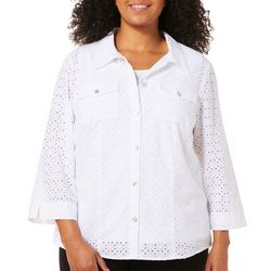 Alfred Dunner Plus Turtle Cove Eyelet Button Down Top