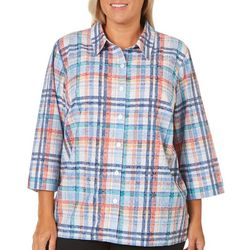 Alfred Dunner Plus Plaid Woven Top