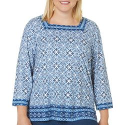 Alfred Dunner Plus Medallion Print Tunic Top