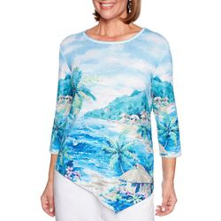 Alfred Dunner Plus Waikiki Embellished Beach Scene Top