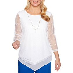 Alfred Dunner Plus Waikiki Textured Mesh Top