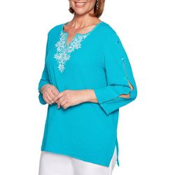 Alfred Dunner Plus Martinique Bubble Gauze Tunic Top