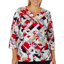 Alfred Dunner Plus Geometric Print Split Neck Top