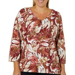 Alfred Dunner Plus Abstract Floral Print Top
