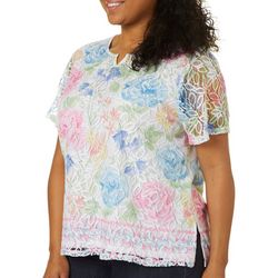 Alfred Dunner Plus Garden Party Floral Lace Top