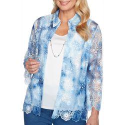 Alfred Dunner Plus Pearls of Wisdom Tie Dye Crochet Top