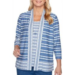 Alfred Dunner Plus Pearls of Wisdom Stripe Top