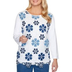 Alfred Dunner Plus Pearls of Wisdom Floral Embroidered Top