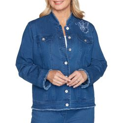 Alfred Dunner Plus Pearls Of Wisdom Butterfly Denim Jacket
