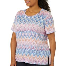 Alfred Dunner Plus Garden Party Zig Zag Print Top