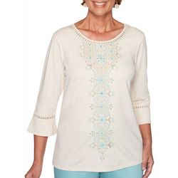 Alfred Dunner Plus Cottage Charm Floral Embroidered Top