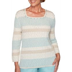 Alfred Dunner Plus Cottage Charm Striped Textured Sweater