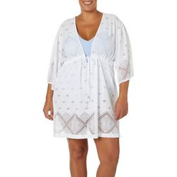 Wearabouts Plus Santorini Tile Crochet Tunic Swim Cover-Up