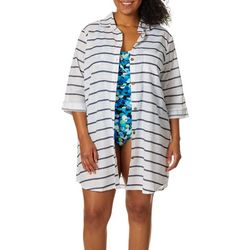 Wearabouts Plus Going Nautical Stripe Button Down Cover-Up