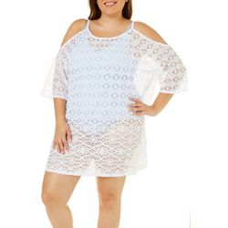 Wearabouts Plus Crochet Cold Shoulder Swim Cover-Up