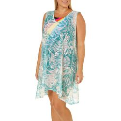 Pacific Beach Plus Palm Leaf Sleeveless Swim Cover-Up