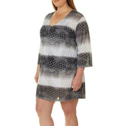 Pacific Beach Plus Pineapple Tunic Swim Cover-Up