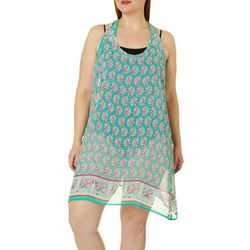 Pacific Beach Plus Sheer Paisley  Tank Swim Cover-Up