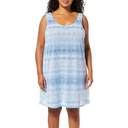 Pacific Beach Plus Sheer Lattice Back Swim Cover-Up