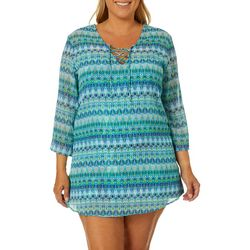 Pacific Beach Plus Ikat Lace Front Tunic Swim Cover-Up