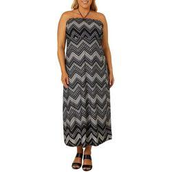 Pacific Beach Plus Chevron Print Maxi Tube Dress