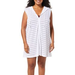 Pacific Beach Plus Textured Stripe Hooded Swim Cover-Up