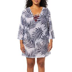 Pacific Beach Plus Palm Print Sheer Lace Neck Swim Cover-Up