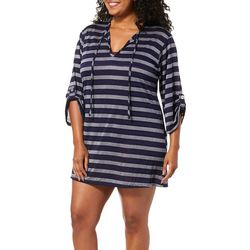 Pacific Beach Plus Tie Front Tunic Swim Cover-Up