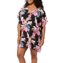 Pacific Beach Plus Floral Print Caftan Cover-Up