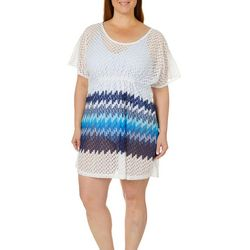 Pacific Beach Plus Ombre Crochet Swim Cover-Up