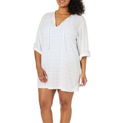 Pacific Beach Womens Terry Stripe Tie Neck Swim Cover-Up
