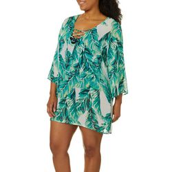 Pacific Beach Plus Tropical Leaves Lace Up Swim Cover-Up